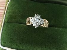 Vintage 21 CLUSTER  Diamond W/ FLARE BAND 14K Yellow Gold Ring Size 6.25,