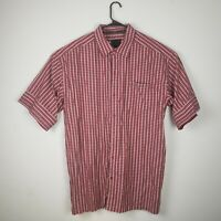 Sean John Men Button Down Shirt XXL 2XL Plaid Red