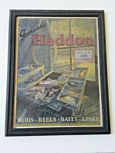 VINTAGE HEDDON ROD REEL TACKLE PICTURE DISPLAY ADVERTISING