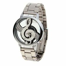 Mens Treble Clef Music Note Watch Stainless Steel Strap Transparent Back