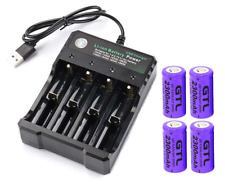 4 Slot USB Smart Charger & 4 x GTL CR123A 2300mAh Rechargeable Li-ion Batteries