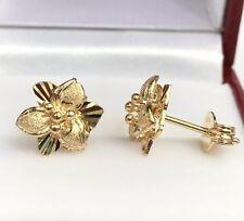 18k Solid Yellow Gold Cute Flower Stud Earrings, Diamond Cut 2.63 Grams