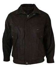 Mens Classic Bomber Black Nubuck Washed Brown Real Leather Jacket