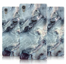 DYEFOR FAUX MARBLE BLUE GREY PHONE CASE COVER FOR SONY XPERIA