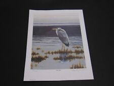 Ross B Young Blue on Blue Heron in wetlands signed numbered print ltd ed