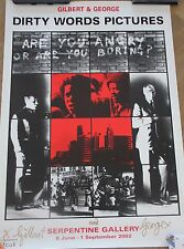 GILBERT & GEORGE Affiche signée poster handsigned Dirty words pictures 2002 *