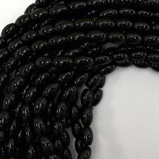"12mm black onyx rice beads 15.5"" strand"