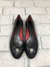 Judith Leiber Made In Italy Black Leather Flats Jewel Accent Size 9