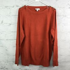 Susan Graver Sweater Womens XL Orange Gold Buttons Boat neck