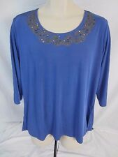Carolyn Strauss Pull Over 3/4 Sleeve Blue Stretch Top Shirt Women's Medium  DD55
