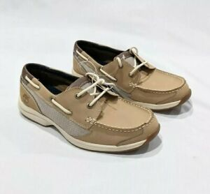Timberland Classic Two Tone Brown Ortholite Boat Shoes Men's Size 7.5 Brand New
