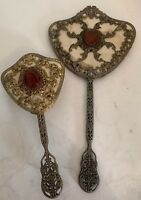 Beautiful Vtg Dresser Set Jeweled Ormolu Hand  Mirror Hairbrush