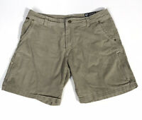 "Kuhl Vintage Patina Dye Renegade 8"" Shorts Khaki Tan Zip Pockets Men's Size 34"