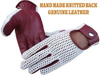 REAL LEATHER DRIVING FASHION CROCHET BACK KNITTED DRESS GLOVES VINTAGE RETRO TOP