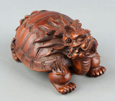 Chinese Exquisite Hand-carved Dragon turtle Carving Boxwood statue