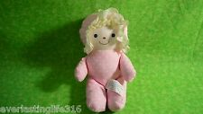 Vintage BANTAM Pink w/ White Polka Dots Rattle Baby Cloth Doll Blonde Hair