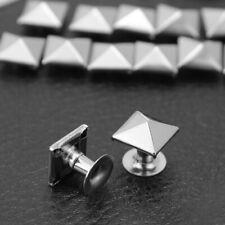 100X 9mm Metall Nieten Pyramiden Hohlnieten Pyramidennieten DIY Basteln Silber