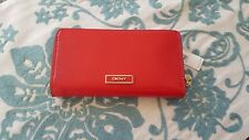 DKNY LEATHER RED SLGS SHINY SAFFIANO WITH STUDS ZA WALLET 741423601 NWT