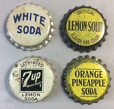 4 WHITE 7Up LEMON Orange Pineapple SODA Cork CROWN Bottle Cap Vintage Original