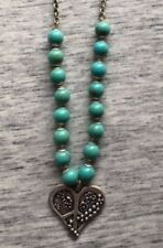 MyEMPORIUM- Turquoise Bead- Heart Pendant Necklace- Xc SIGNED- Estate Jewelry