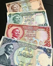 1975-1981 Jordan Banknotes Set of 4 PCS: 1/2, 1, 5, and 10 dinars **UNC**