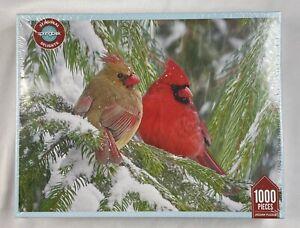 New Sealed Springbok 1000 Birds Eye View Cardinal Christmas Jigsaw Puzzle