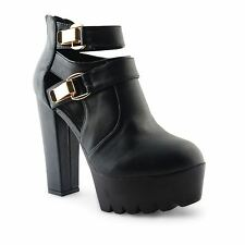 Buckle Ankle Boots Synthetic Leather Shoes for Women