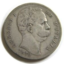 New listing elf Italy Kingdom 5 Lire 1879 R Silver Umberto I