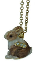 Enamel Necklace for Trinket Jewelry Box with Yellow Chain, Brown Rabbit 3418N