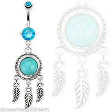 TJS Dreamcatcher Turquoise Leaves Feathers Dangle Navel Ring Belly Bar Aqua CZ