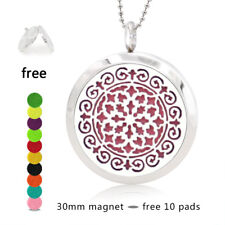 30MM 316L Steel Diffuser Locket Pendant Aroma Essential Oil Fit Necklace 10pad