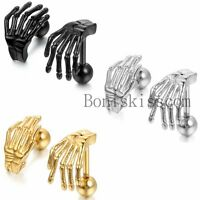 Men's Women's Stainless Steel Gothic Skull Claw Skeleton Hand Stud Earrings Set