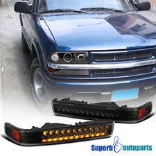 For 1998-2004 Chevy S10 Blazer GMC Sonoma Pickup Black LED Bumper Signal Lights