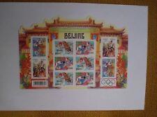 """Bloc de 10 timbres  Chine 0,55 € , non oblitérés """" Beijing """"Jeux Olympiques"""