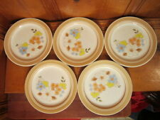 "Set of 5 Vintage 1986 Newcor Barbara Floral Stoneware 7 3/4"" Salad Plates Japan"