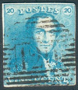 Belgien Mi.-Nr.2b milchblau Porträt scheint durch auf RS ! EXTREM SELTEN !!!!!!!