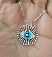 925 Sterling Silver Crystals Round Blue Evil Eye Pendant Necklace