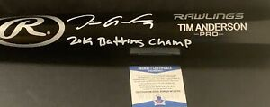 Tim Anderson White Sox Signed Engraved Bat Beckett Wit COA 2019 Batting Champ