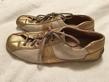 The Original Car Shoe PRADA Tan Canvas Gold Leather Sneaker Driving Shoe Size 37