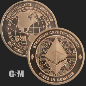 1 oz Ethereum .999 Copper Round - Golden State Mint Crypto Currency