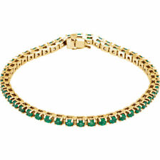 "Genuine Emerald Tennis 7"" Bracelet In 14K Yellow Gold"