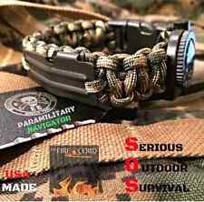 Paracord Survival EDC 550 Firecord / Compass  / Handcuff Key / Flint Fire