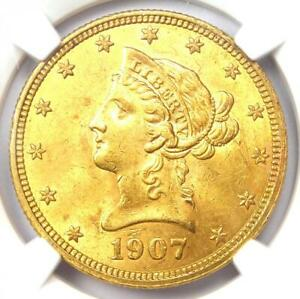 1907 Liberty Gold Eagle $10 - Certified NGC MS61 (BU UNC) - Rare Coin!