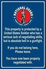 """Property Protected by Soldier U.S.National Guard 8"""" x 12"""" Aluminum Metal Sign"""