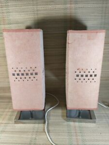 Pair of Bedside Lamps - Prism Shaped - Pink