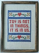 Completed cross stitch embroidery joy encouragement religious love frame art 5x7