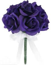 Purple Silk Rose Toss Bouquet - Bridal Wedding Bouquet