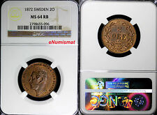SWEDEN BRONZE Carl XV Adolf  1872  L.A. 2 ORE NGC MS64 RB KM#706 MORE  RED !