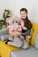NEW 60CM XL LARGE BIG SOT PLUSH STUFFED GREY ELEPHANT ANIMAL TOY TEDDY BEAR PLAY