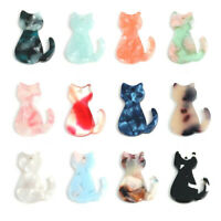 5Pcs Resin Colorful Cat Animal Charms Pendants DIY Jewellery Making Accessories